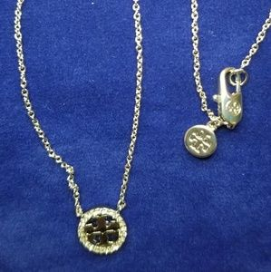 Tory Burch Jewelry - Tory Burch Crystal Encrusted Circle Logo Necklace